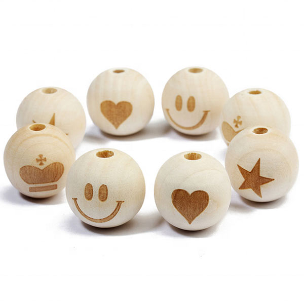 Natural Custom Round Wooden Beads With Hole Loose Wooden Beads for DIY