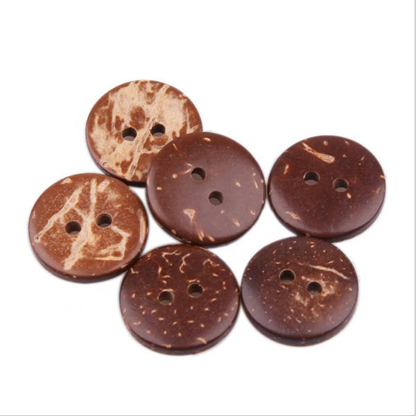 High Quality Round Brown Two Holes Eco-friendly Coconut Buttons
