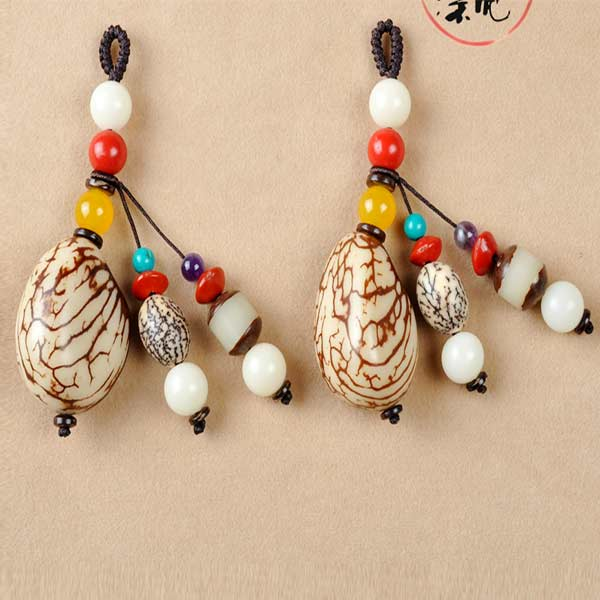 Personalized Corozo Natural Vegetable Ivory Nut Key Chains Customized Various Patterns & Sizes