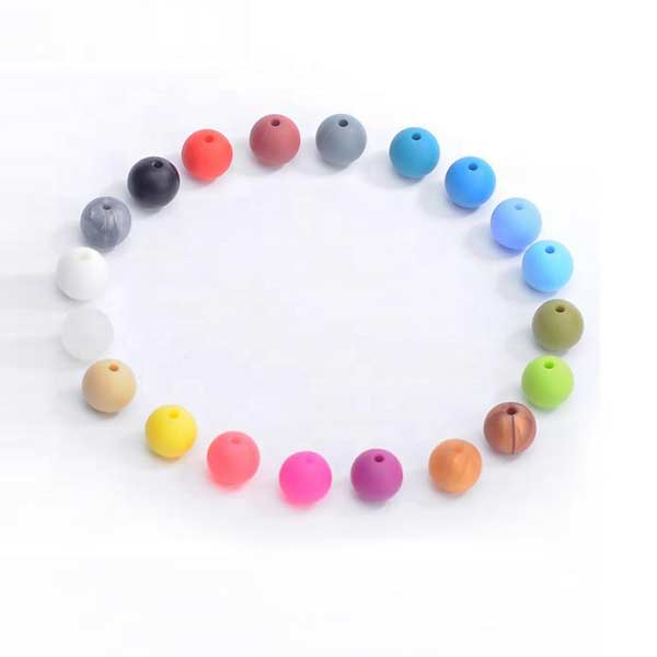 factory wholesale food grade silicone beads teether round with small moq
